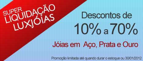Super Liquidação de Jóias em Aço, Prata 925 e Ouro 18k com Descontos de 10% a 70% até 30/01/2012
