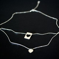 925 Silver Necklace with Pendant Rectangle / Heart 43 cm