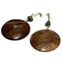 Earring Agate moss, bamboo and coconut