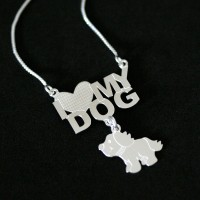 Gargantilha de Prata 925 com I Love My Dog