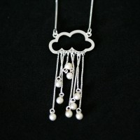 Silver necklace with 925 Cloud with Pearls