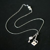 Silver necklace with 925 Padlock with Key