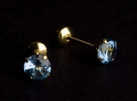 Earring Yellow Gold with Stone Zirconia Blue
