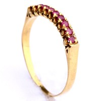 Half ring Gold Alliance Yellow With 9 Ruby of 1 Point Each