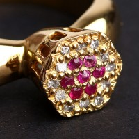 Ring Shower with 18 Diamond Half Point and 7 Ruby