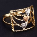 Ring Three Colors Yellow Gold, White Gold and Red Gold with Detail of Heart