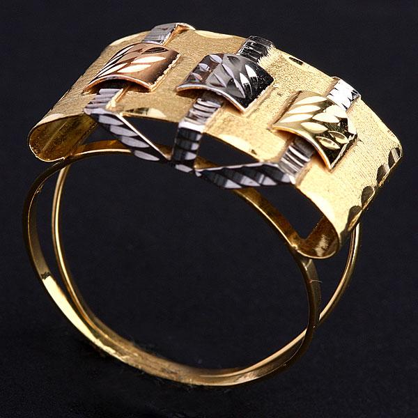 Anel de Ouro Trabalhado Com Três Cores Ouro Amarelo, Ouro Branco e ... 695163da1a