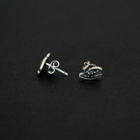 925 Silver Earring Aged Male Eye of Horus with Stone