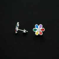 925 Silver Earring GLS Flower Rainbow