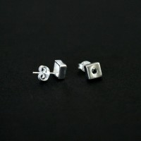 925 Silver Earring with Stone Male Square