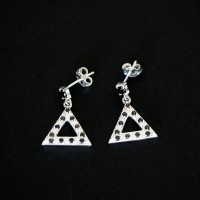925 Silver Earrings with Stones Triangle