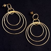 Earring Yellow Gold with Some Rings