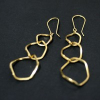 Earring Yellow Gold of 3 Ring Twisted