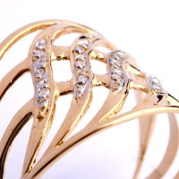 Ring Worked in Yellow Gold, White Gold with 12 Diamond of Half Point Each