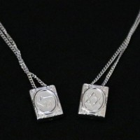Silver Scapular Necklace 925 Jewish Star of David and Chai Symbol 70cm