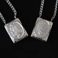 Silver Scapular 925 Our Lady Help of Christians with the Sacred Heart of Jesus 70cm