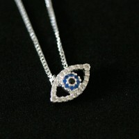 Necklace 925 Silver Pendant with Eye Greek Studded with Zirconia Stones
