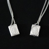 Necklace Silver Scapular 925 Our Lady of Nazareth and Our Lady of Grace 70cm