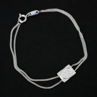 925 Silver Scapular Bracelet Our Lady of Carmo and Sacred Heart of Jesus 16cm