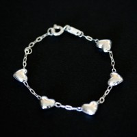 925 Silver Bracelet with Heart 14cm