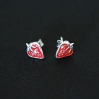925 Silver Earring with Resin Strawberry