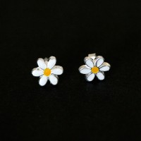 925 Silver Earring with Resin Daisy Flower