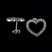 925 Silver Earring Heart Studded with Zirconia Stones