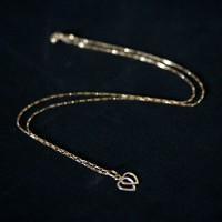 18k Gold Chain 45cm with 0750 Cartier Double Heart Pendant in White Gold and Yellow Gold