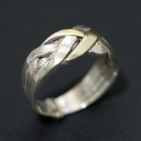 Ring Turkish Silver 925 with Yellow Gold 18k