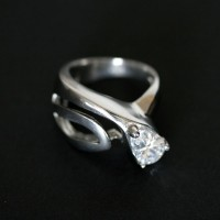 Sheet Steel Ring with Zirconia Stone