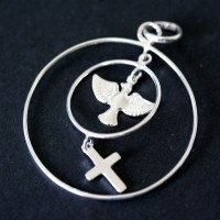Pendant Silver 925 Circles Pendant with Cross and the Holy Spirit