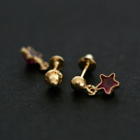 Earrings 18K Gold Star with Red Stone Zirconia