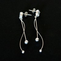 Earring 925 Silver with Stone Zirconia