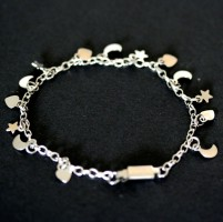 Steel bracelet for Child Star, Moon, Heart 15cm