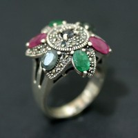 925 Silver Ring with Emerald, Sapphire and Ruby