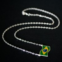 Chain / Necklace 925 Silver with Flag of Brazil