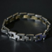 Steel Bracelet with Yellow Gold Details
