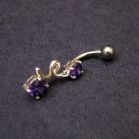 Piercing with 925 Silver and Steel Surgical with Stones from Zirconia Purple