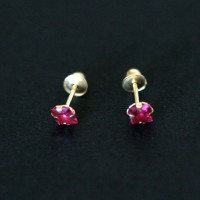 18k Gold Earrings with Red Stone Zirconia