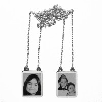 Silver Scapular 925 with engraved photo / Photoengraving 60cm - 15.8mm x 19.8mm