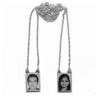 Silver Scapular 925 with engraved photo / Photoengraving 60cm - 10.3mm x 14.0mm