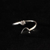 925 Sterling Silver Adjustable Falange Heart and Zirconia Ring