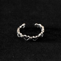 925 Silver Ring Falange Aged Heart