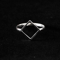 Square 925 Silver Ring Dropped