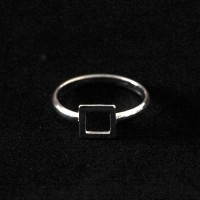 925 Silver Square Falange Ring Dropped