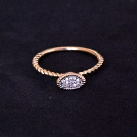 Gold Plated Semi Jewel Ring with Zirconia Stone