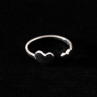 925 Silver Ring Phalanx Adjustable Hearts Composite