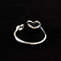 Silver Ring 925 Adjustable Hearts Composite