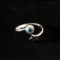 Silver 925 Ring Adjustable Falange Star Greek Eye
