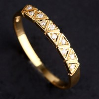 Ring of Yellow Gold with 10 Diamonds of 1 Point